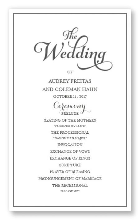 Tweed Wedding Program