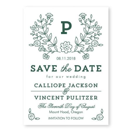 Garden Monogram Letterpress Save the Date
