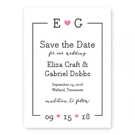 Simple Heart Save The Date Cards