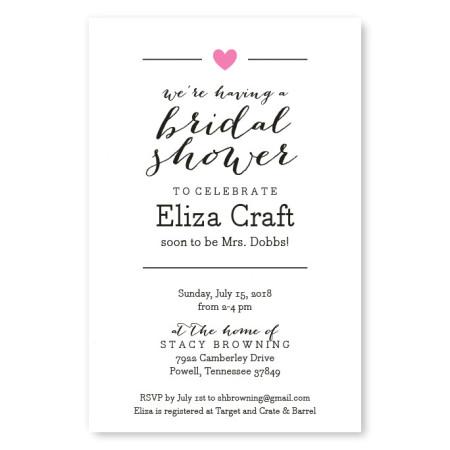 Simple Heart Bridal Shower Invitations