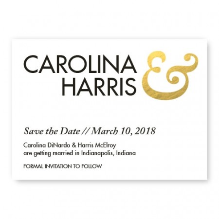 Foil Ampersand Save the Date Card SAMPLE