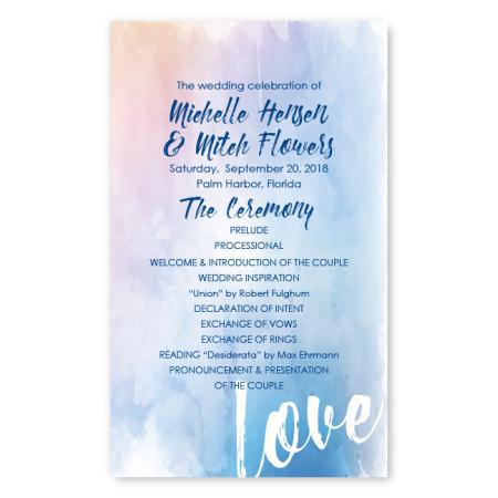 Watercolor Love Wedding Program