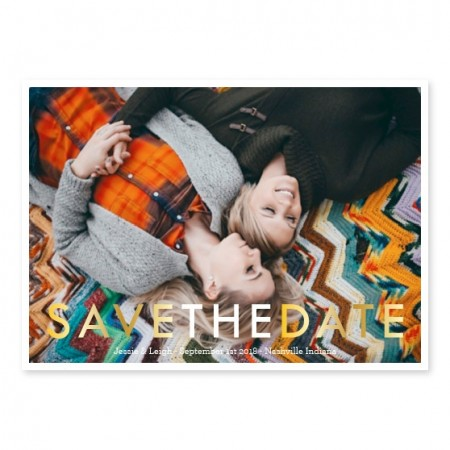Simplistically Engaged Photo Save The Date Cards
