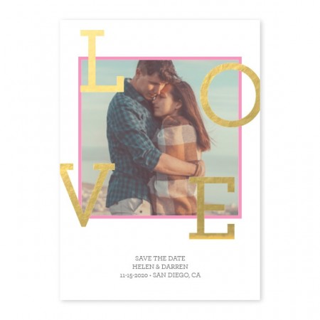 Love Initials Foil Save The Date Cards