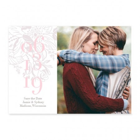 Floral Kisses Photo Save The Date Cards - Gray