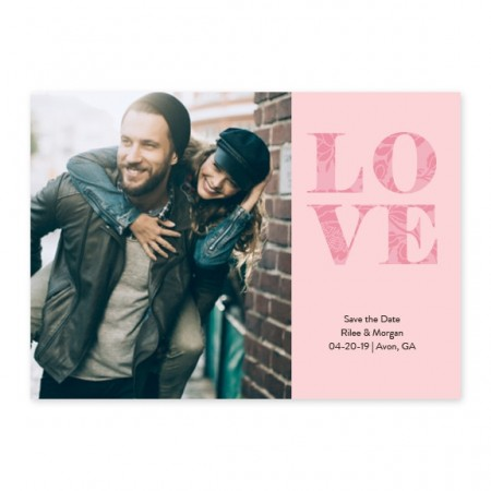 Extra Love Photo Save The Date Cards - Pink