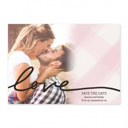 Gingham Love Photo Save The Date Cards