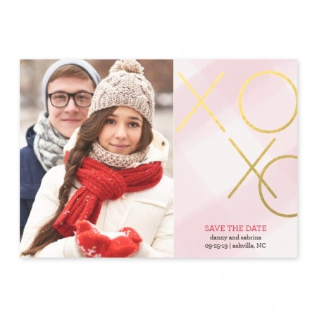 Gingham Kisses Foil Save The Date Cards