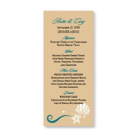 Seashell Love Menu Cards SAMPLE