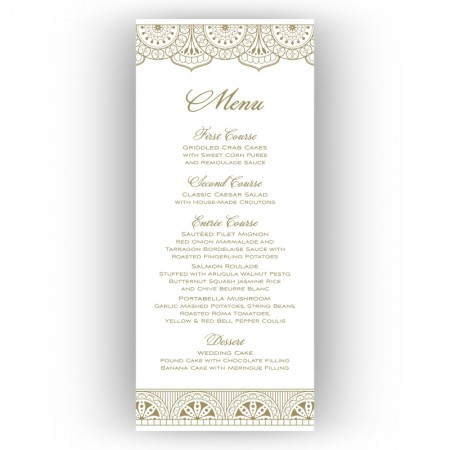 Moroccan Menu Cards