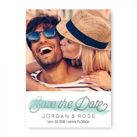Watercolor Swatch Save The Date Cards - Blue