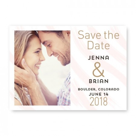 Watercolor Swish Photo Save The Date Cards - Pink