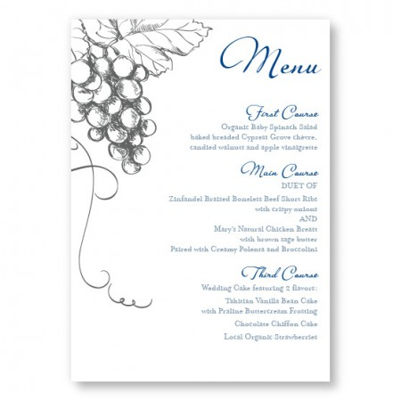 Vineyard Menu Cards