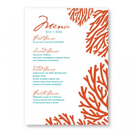 Coral Menu Cards