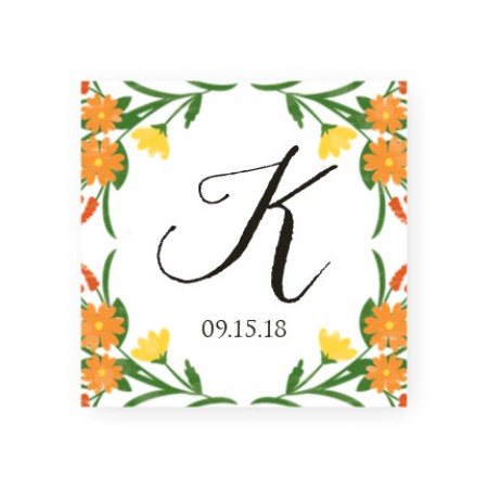 Floral Monogram Favor Tags