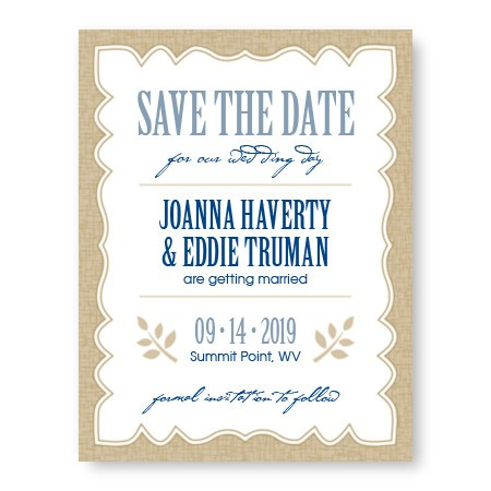 Burlap Save The Date Cards