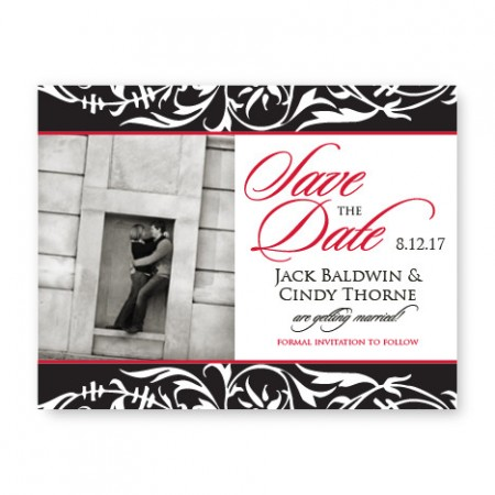 Damask Photo Save the Date Cards