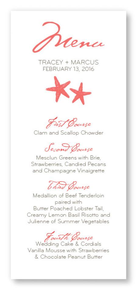 Starfish Menu Cards