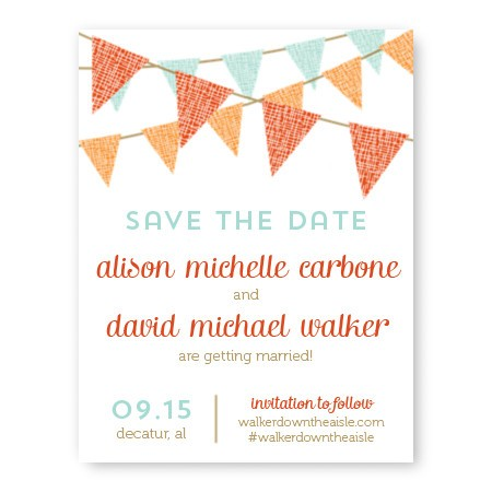 Bunting Save The Date Cards