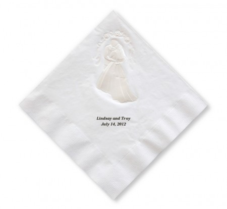 Pearl Embossed Bride and Groom Luncheon Napkins