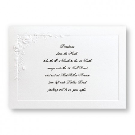 Large Embossed Roses Direction Cards - LIMITED STOCK ON HAND