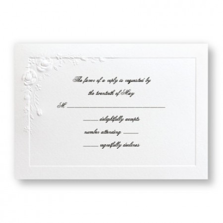 Large Embossed Roses Respond Cards - LIMITED STOCK ON HAND