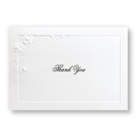 Large Embossed Roses Thank You Cards - LIMITED STOCK ON HAND