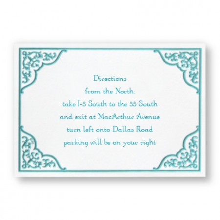 Dramatic Aqua Border Direction Cards - LIMITED STOCK ON HAND
