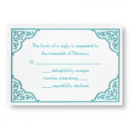 Dramatic Aqua Border Respond Cards - LIMITED STOCK ON HAND