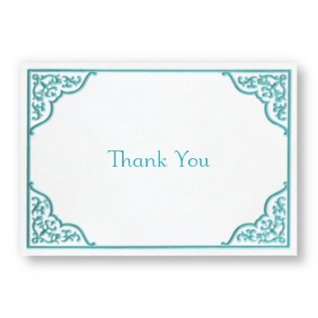 Dramatic Aqua Border Thank You Cards - LIMITED STOCK ON HAND