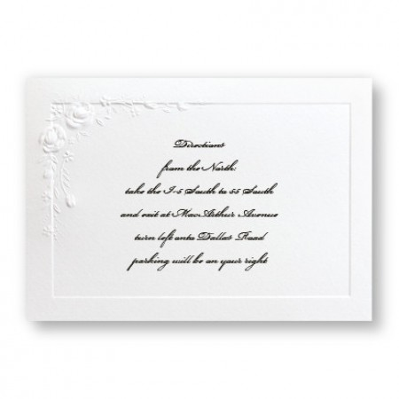 Small Embossed Roses Direction Cards - LIMITED STOCK ON HAND