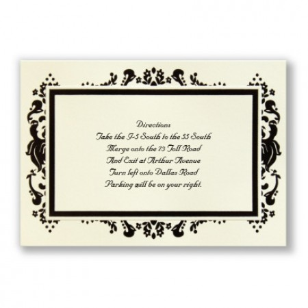 Subtle Damask Direction Cards - LIMITED STOCK ON HAND