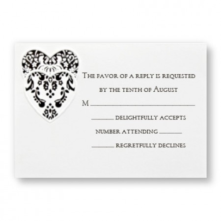 Double Damask Heart Respond Cards - LIMITED STOCK ON HAND