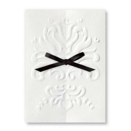 Art Deco White Wedding Invitations