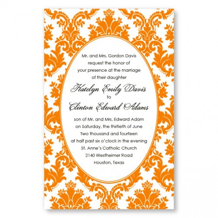 Engagingly Damask Wedding Letterpress Invitation SAMPLE