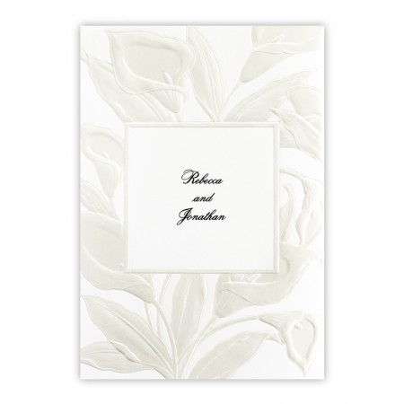 Iridescent Lilies Pearl Floral Wedding Invitations