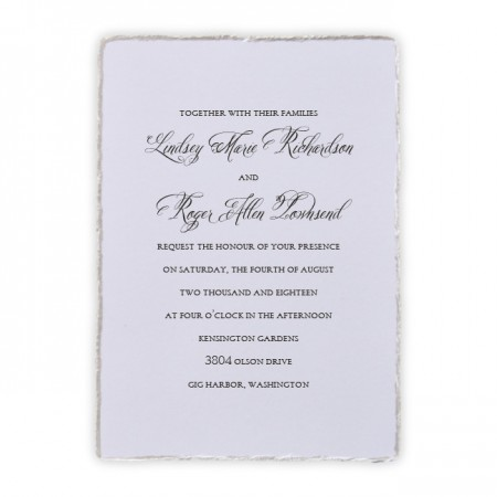 Feather Deckle Wedding Invitations SAMPLE