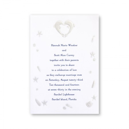 Kissing Dolphins Wedding Invitations SAMPLE