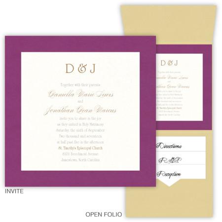6 x 6 Vertical Folio Wedding Invitations  - 2 Layers Large Border