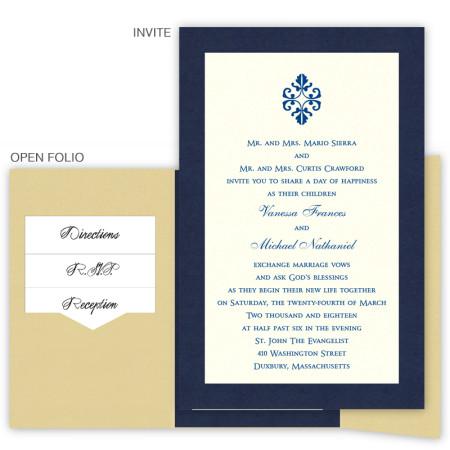 6 x 9 Gate Folio Pocket Wedding Invitations  - 2 Layers Large Border
