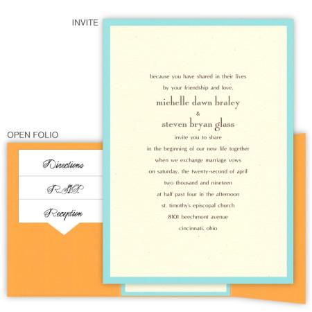 5 x 7 Gate Folio Pocket Wedding Invitations  - 2 Layers Small Border