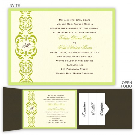 Lacey Folio Pocket Wedding Invitations SAMPLE