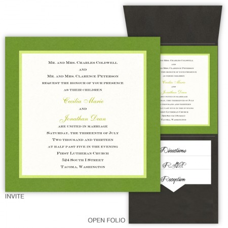 6 x 6 Vertical Folio Pocket Wedding Invitations - 3 Layers