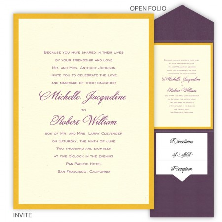 5 x 7 V-Flap Folio Pocket Wedding Invitations  - 2 Layers Small Border