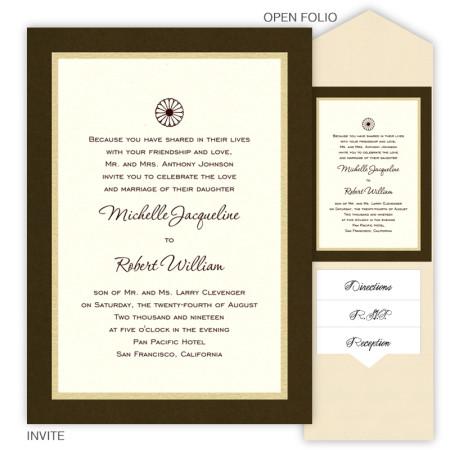 5 x 7 V-Flap Folio Pocket Wedding Invitations  - 3 Layers