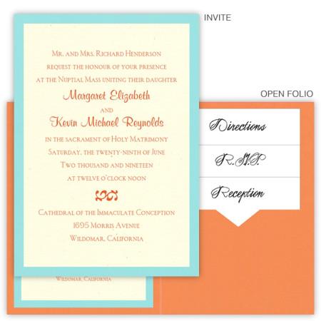 5 x 7 Single Folio Pocket Wedding Invitations