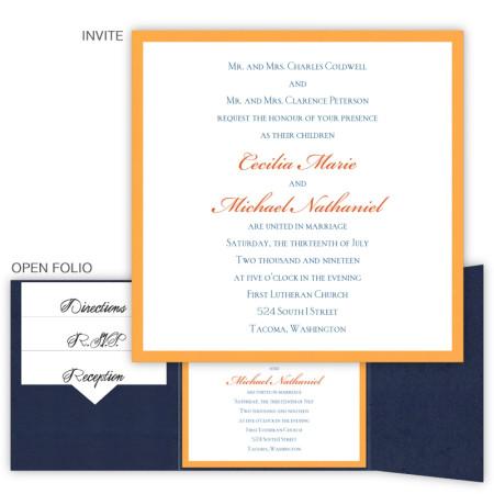 5 x 5 Gate Folio Pocket Wedding Invitation  - 2 Layers