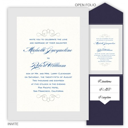 5 x 7 V-Flap Folio Pocket Wedding Invitations  - 2 Layers Large Border