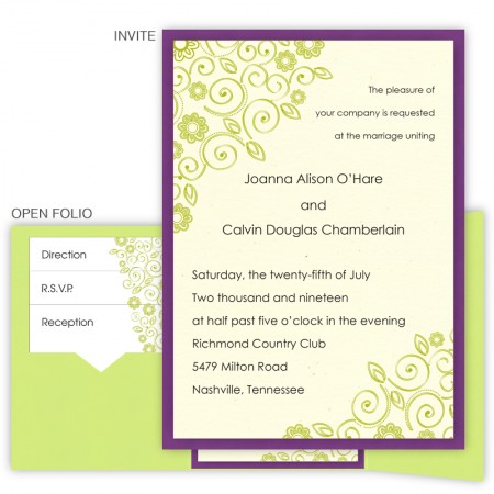 Flirty Flowers Folio Pocket Wedding Invitations