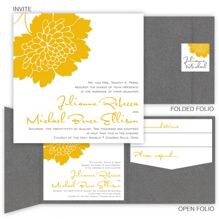 Bliss Square Folio Pocket Wedding Invitations